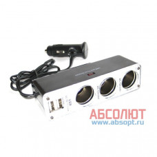 """Разветвитель прикуривателя X3 & USBX2 """"IN-CAR.PRO"""" WF-0096-2 5V/3100mA"""