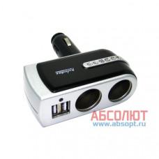 """Разветвитель прикуривателя X2 & USB """"IN-CAR.PRO"""" WF-201 5V/500mA (чёрный)"""